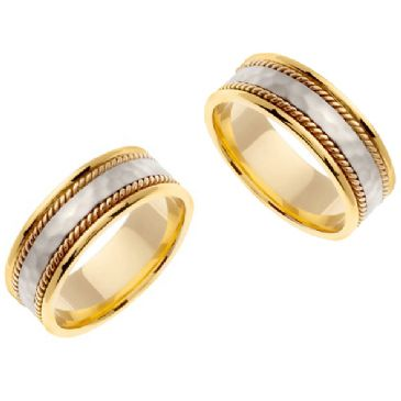 18k Gold 8mm Handmade Two Tone His and Hers Wedding Bands Set 193