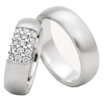 18k Gold 6.5mm His & Hers 0.45ct Diamond Wedding Band Set 194
