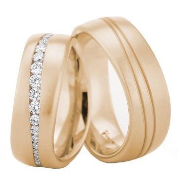 18k Gold 7.5mm His & Hers 0.45ct Diamond Wedding Band Set 195