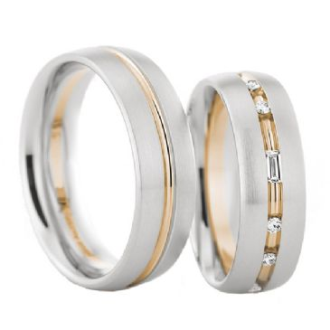 950 Platinum and 18k Gold 6.5mm His & Hers Two Tone 0.40ctw Diamond Wedding Band Set 197
