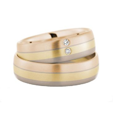 14k Gold His & Hers Tri Color 0.04ctw Diamond Wedding Band Set 199