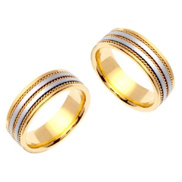 18k Gold 8mm Handmade Two Tone His and Hers Wedding Bands Set 226