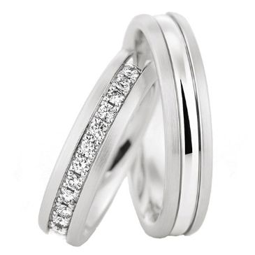 950 Platinum His & Hers 0.35ctw Diamond Wedding Band Set 202