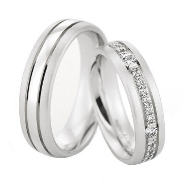 950 Platinum His & Hers 0.60ctw Diamond Wedding Band Set 203