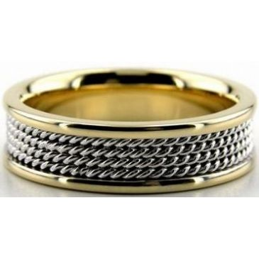 18k Gold Two Tone 6.5mm Handmade Wedding Band Rope Design 023