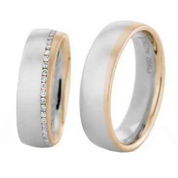 18k Gold His & Hers Two Tone 0.60ctw Diamond Wedding Band Set 206