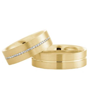 18k Gold His & Hers 0.175ctw Diamond Wedding Band Set 207