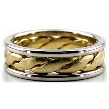 18K Gold Two Tone 6.5mm Handmade Wedding Band Center Braid 008