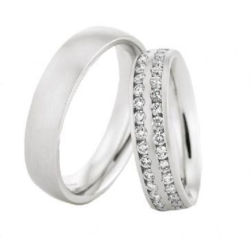 950 Platinum His & Hers 0.72ctw Diamond Wedding Band Set 211