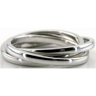 18k White Gold 5.5mm Handmade Wedding Band Rolling Ring Design 012