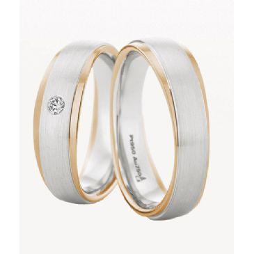 14k Gold His & Hers Two Tone 0.04ctw Diamond Wedding Band Set 213