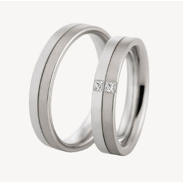 950 Platinum His & Hers 0.10ctw Diamond Wedding Band Set 214