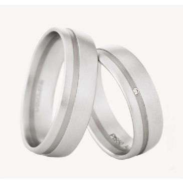 950 Platinum His & Hers 0.01ctw Diamond Wedding Band Set 215