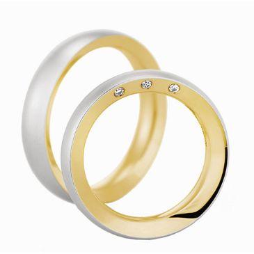 18k Gold His & Hers Two Tone 0.03ctw Diamond Wedding Band Set 217