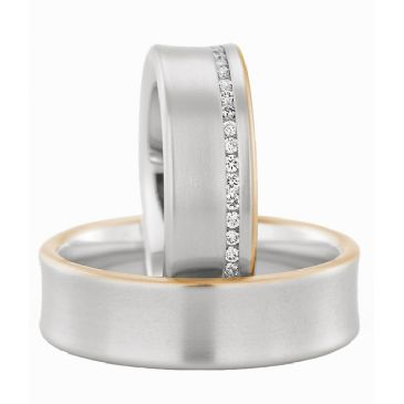 18k Gold His & Hers Two Tone 0.35ctw Diamond Wedding Band Set 219
