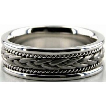 18k White Gold 7mm Handmade Wedding Band Braid Design 003