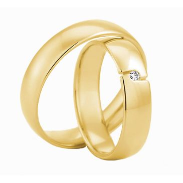 18k Gold His & Hers Yellow 0.03ctw Diamond Wedding Band Set 224