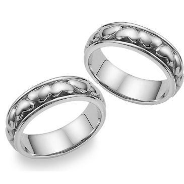 14k Gold 7mm Handmade His and Hers Wedding Rings Set 225