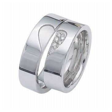 950 Platinum His & Hers Gold 0.24ctw Diamond Wedding Band Set 003