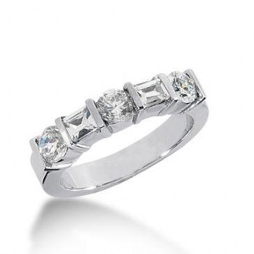 950 Platinum Diamond Anniversary Band 3 Round Brillinat and 2 Baguette - Bezel Set 1.07  ctw. 397WR1915PLT