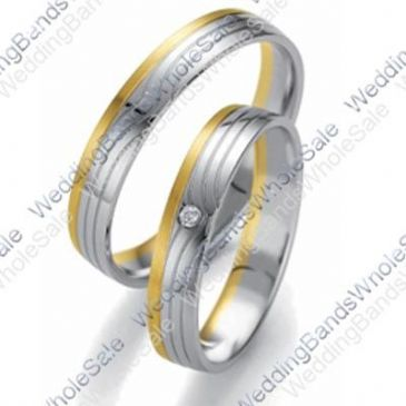 14k Gold 5mm His & Hers Two Tone 0.04ctw Diamond Wedding Band Set 230