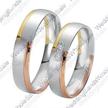 18k Gold 6mm 0.15ct Tri-Color His and Hers Wedding Rings Set 231