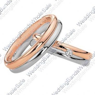 14k Rose & White Gold His & Hers Two Tone 0.04ctw Diamond Wedding Band Set 232