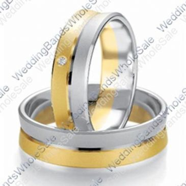 18k White & Yellow Gold 7mm Flat 0.03ct His & Hers Wedding Rings Set 234