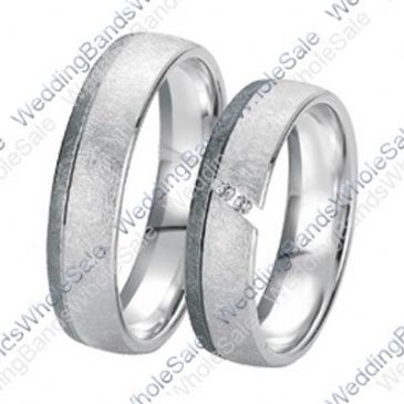 14k White Gold 6mm 0.08ct His and Hers Wedding Rings Set 235
