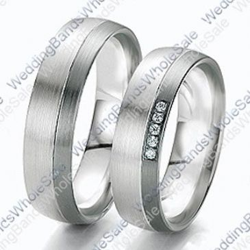 14k White Gold 6mm 0.10ct His and Hers Wedding Rings Set 236