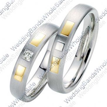 14k Gold 5mm Geometric His & Hers Two Tone 0.05ctw Diamond Wedding Band Set 237