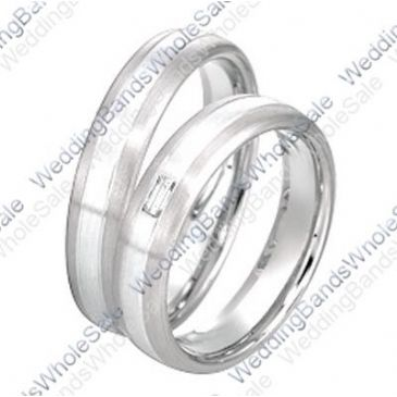 950 Platinum 6mm 0.10ct His and Hers Wedding Rings Set 238
