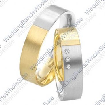 14k White and Yellow Gold 6mm 0.075ct His and Hers Wedding Rings Set 239