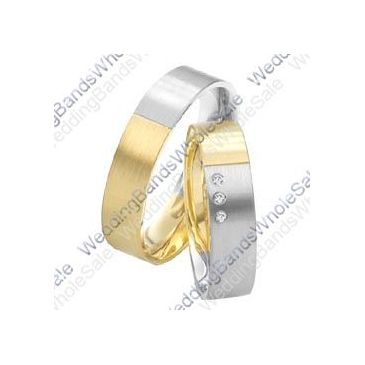 18k White and Yellow Gold 6mm 0.075ct His and Hers Wedding Rings Set 239