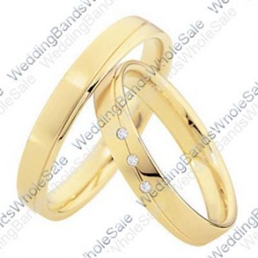 14k Yellow Gold His & Hers 0.075ctw Diamond Wedding Band Set 240