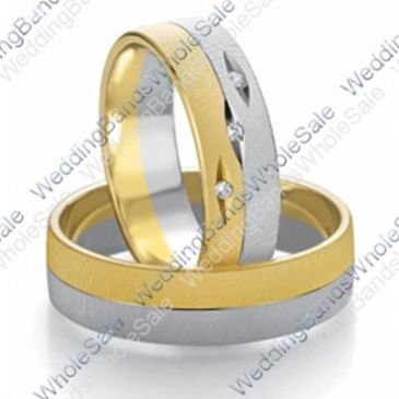 14k White & Yellow Gold 7mm Flat 0.03ct His & Hers Wedding Rings Set 241