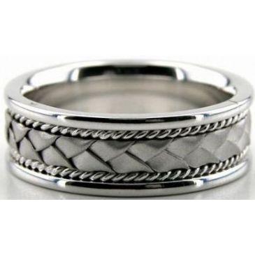 18k White Gold 7mm Handmade Wedding Band Braid and Rope Design 006
