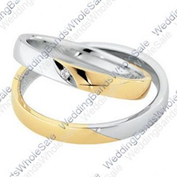 14k White & Yellow Gold 4mm Flat 0.01ct His & Hers Wedding Rings Set 242