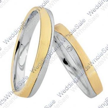 14k White & Yellow Gold 4mm Flat 0.01ct His & Hers Wedding Rings Set 243