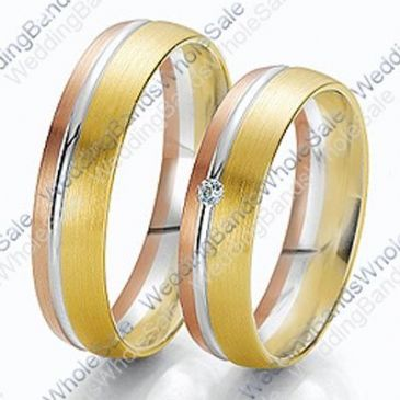 18k Tri-Color Rose, White & Yellow Gold 7mm 0.03ct His & Hers Wedding Rings Set 244