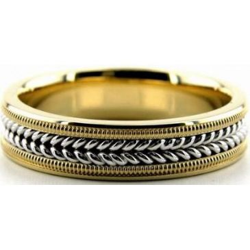 18k Gold Two Tone 6mm Handmade Wedding Band Milgrain and Rope Design 035