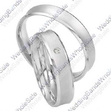 14k White Gold 5mm His & Hers 0.02ctw Diamond Wedding Band Set 247
