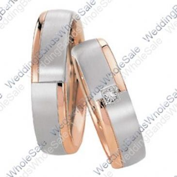 950 Platinum and 18k White and Rose Gold 6mm 0.05ct His and Hers Wedding Rings Set 248