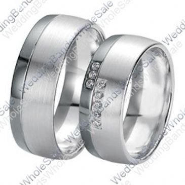 14k White Gold 7mm 0.16ct His & Hers Wedding Rings Set 249