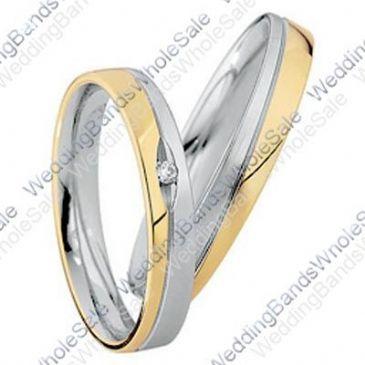 18k Yellow & White Gold His & Hers Two Tone 0.02ctw Diamond Wedding Band Set 250