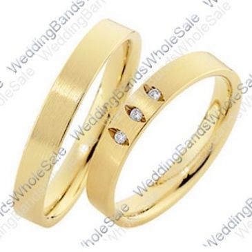 14k Yellow Gold Flat His & Hers 0.075ctw Diamond Wedding Band Set 251