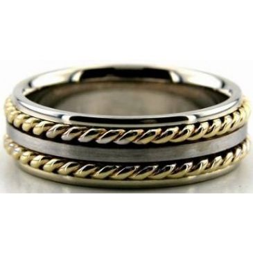 18k Gold Two Tone 7mm Handmade Wedding Band Rope Design 016