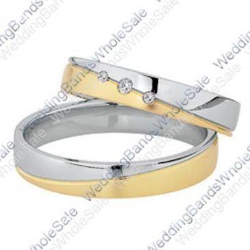 14k Yellow & White Gold His & Hers Two Tone 0.06ctw Diamond Wedding Band Set 253