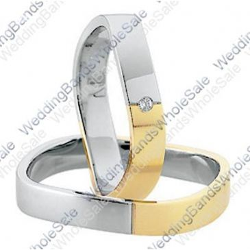 14k Yellow and White Gold Flat 5mm His & Hers Two Tone 0.03ctw Diamond Wedding Band Set 254