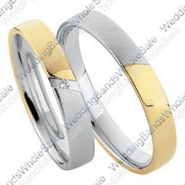 18k Yellow & White Gold His & Hers Two Tone 0.02ctw Diamond Wedding Band Set 255